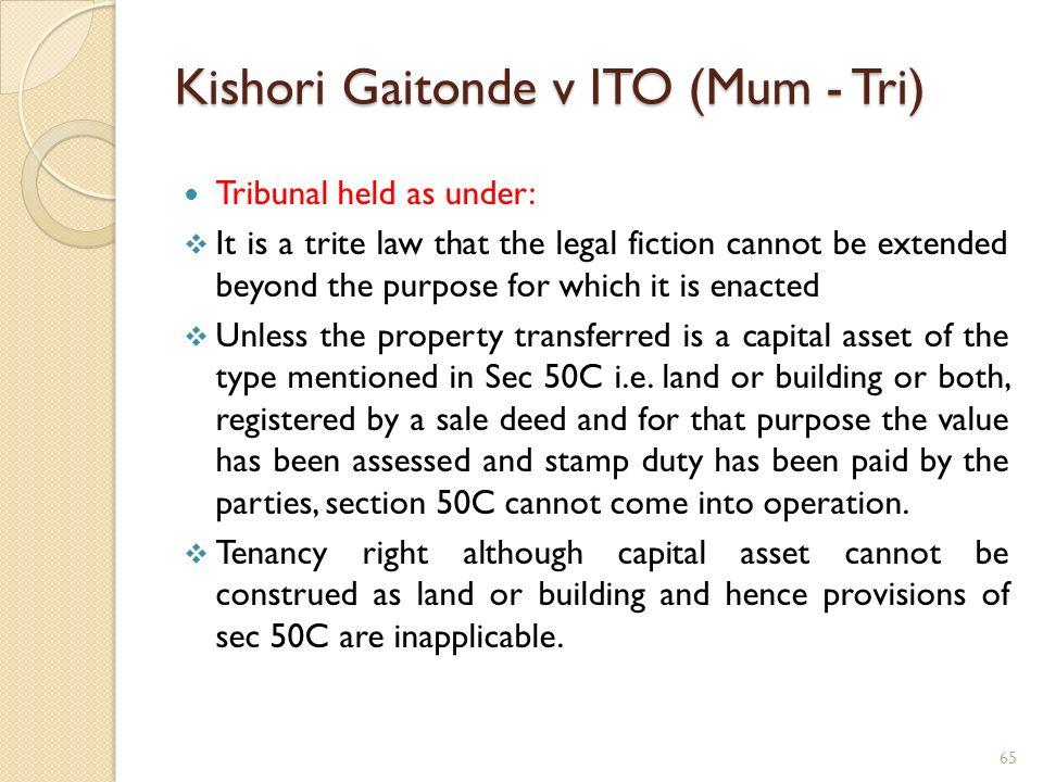 Kishori Gaitonde v ITO (Mum - Tri)