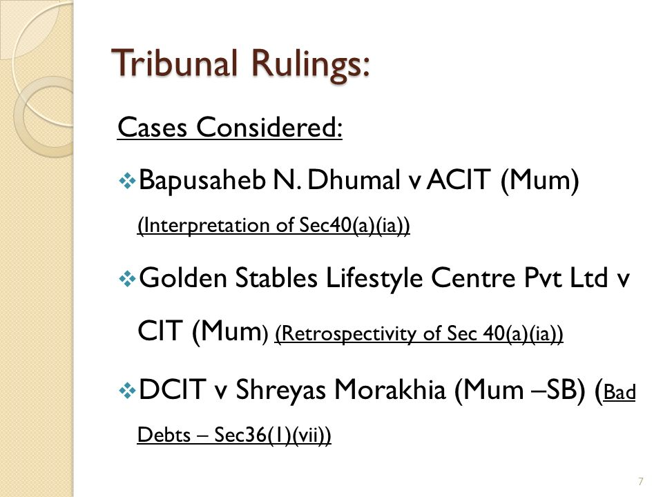 Tribunal Rulings: Cases Considered: