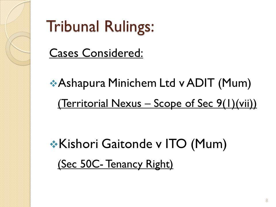 Tribunal Rulings: Kishori Gaitonde v ITO (Mum) Cases Considered: