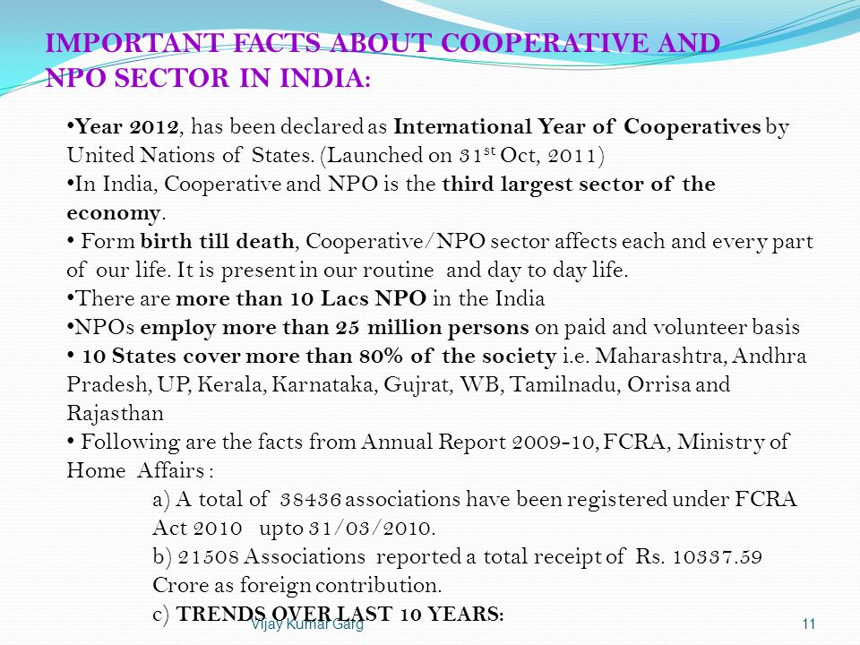 IMPORTANT FACTS ABOUT COOPERATIVE AND NPO SECTOR IN INDIA: