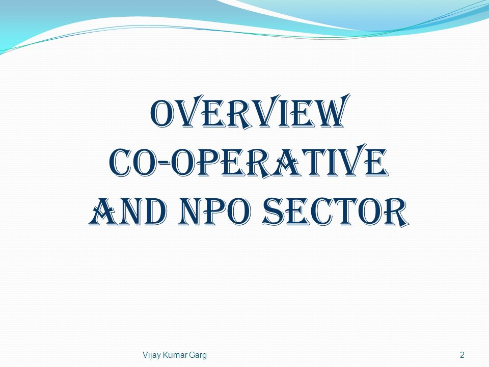 Co-operative and NPO Sector