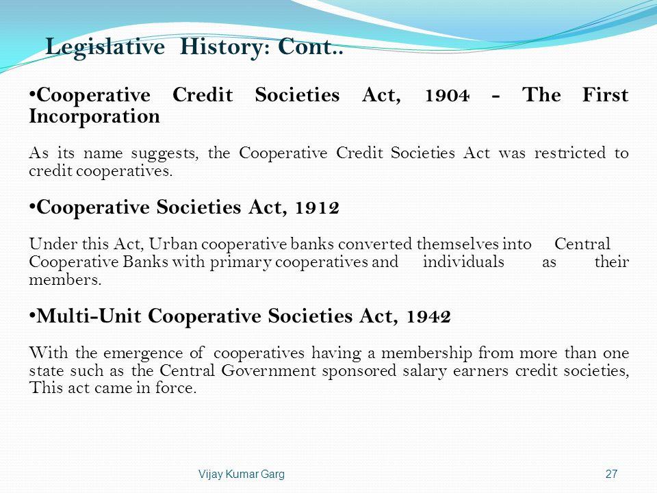 Legislative History: Cont..