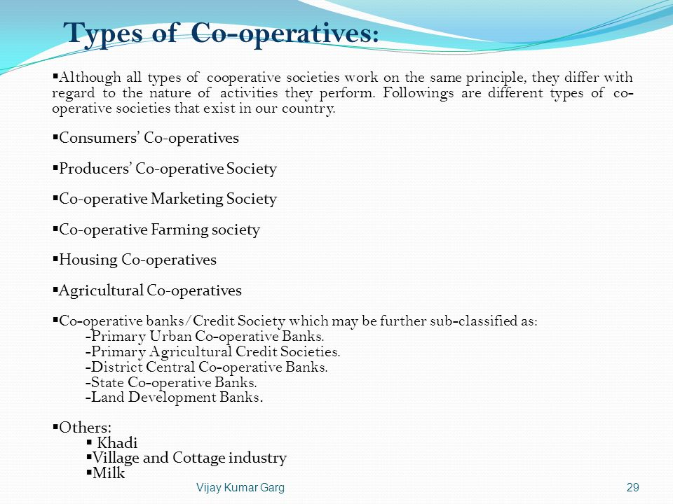 Types of Co-operatives: