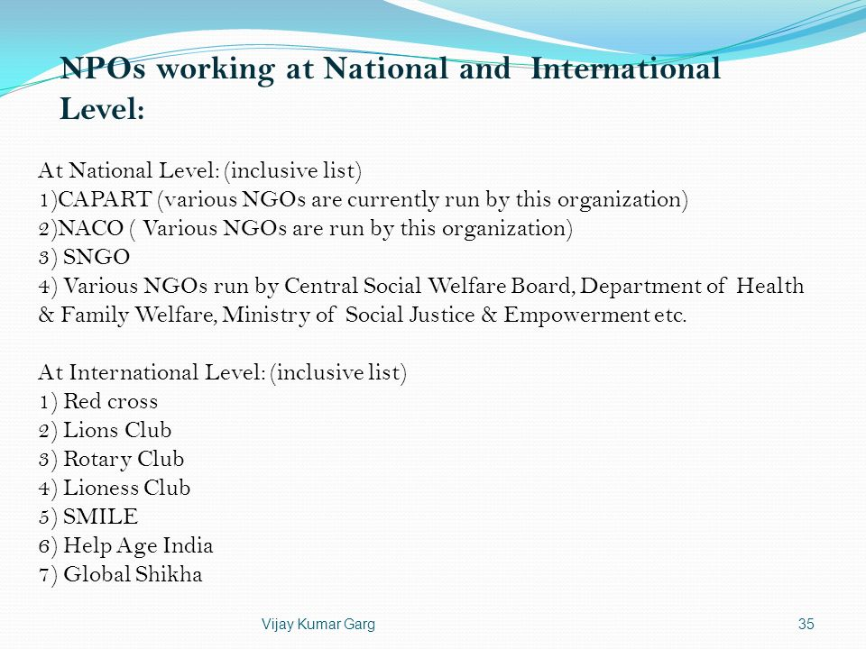 NPOs working at National and International Level: