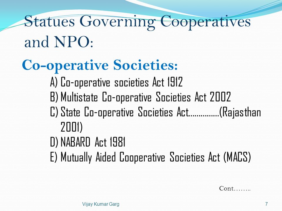 Statues Governing Cooperatives and NPO: