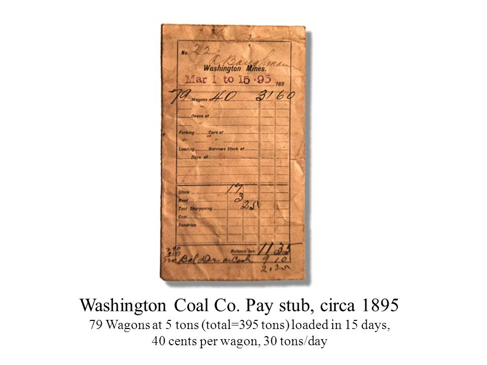 Washington Coal Co. Pay stub, circa 1895
