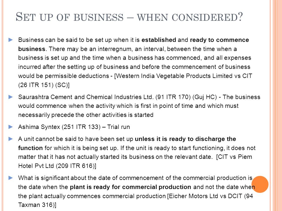 Set up of business – when considered