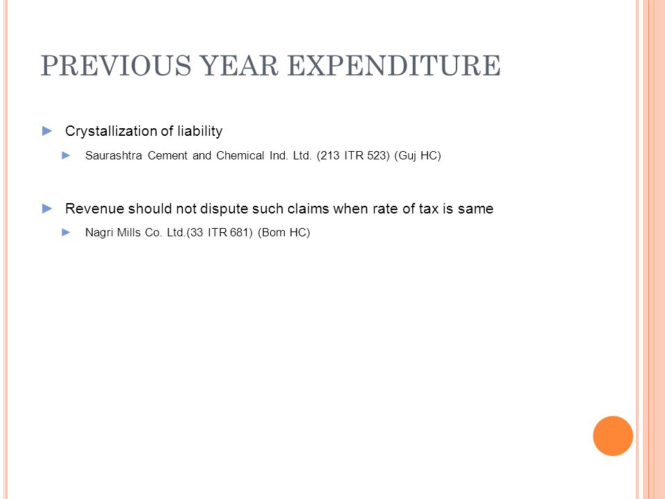 PREVIOUS YEAR EXPENDITURE