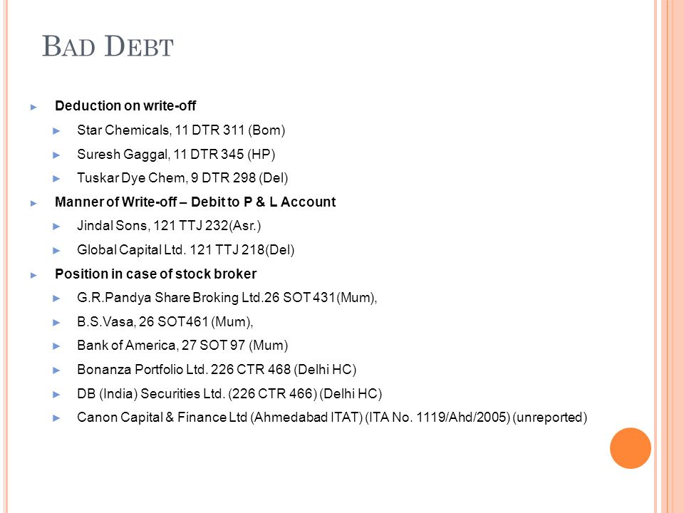 Bad Debt Deduction on write-off Star Chemicals, 11 DTR 311 (Bom)