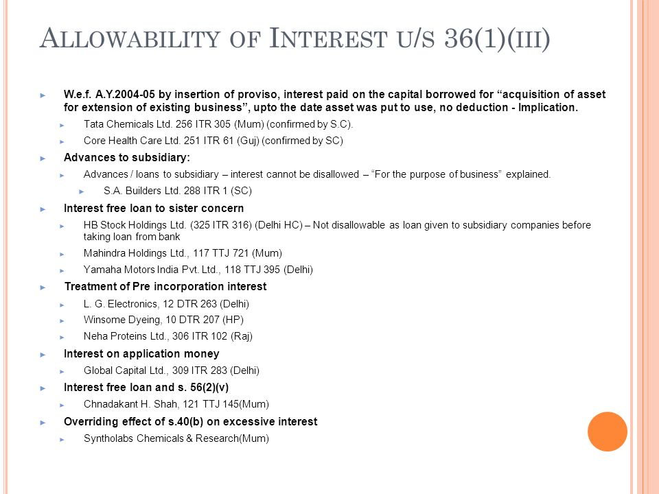 Allowability of Interest u/s 36(1)(iii)