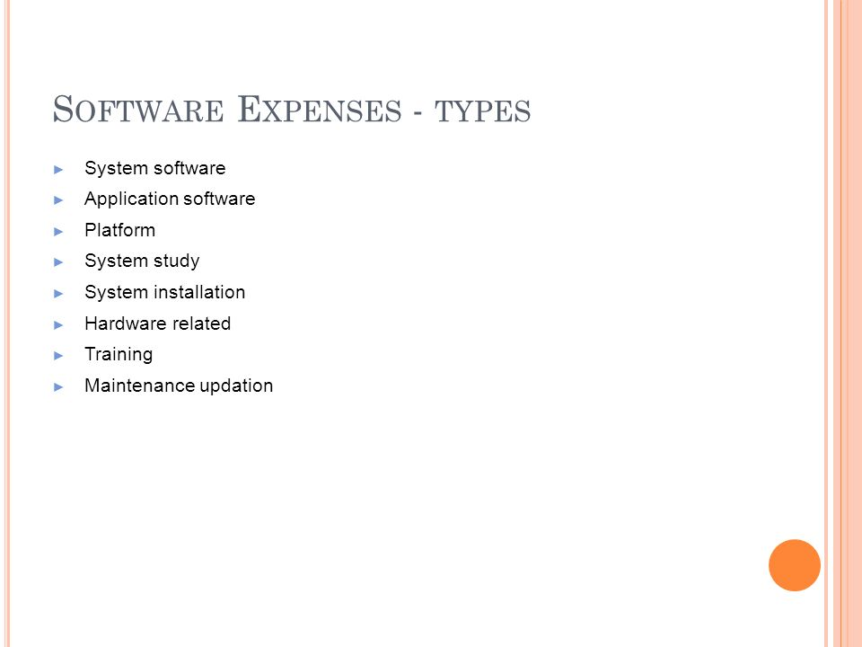 Software Expenses - types