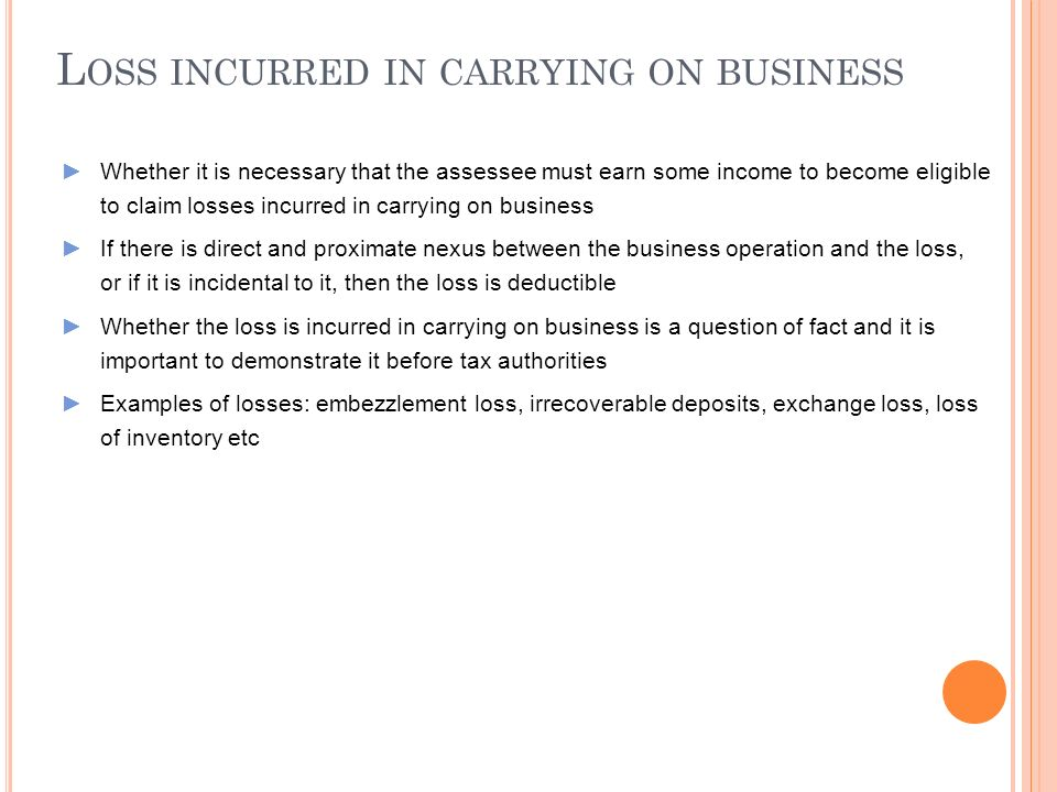 Loss incurred in carrying on business
