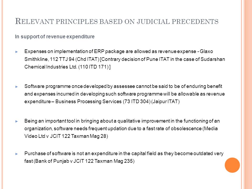 Relevant principles based on judicial precedents