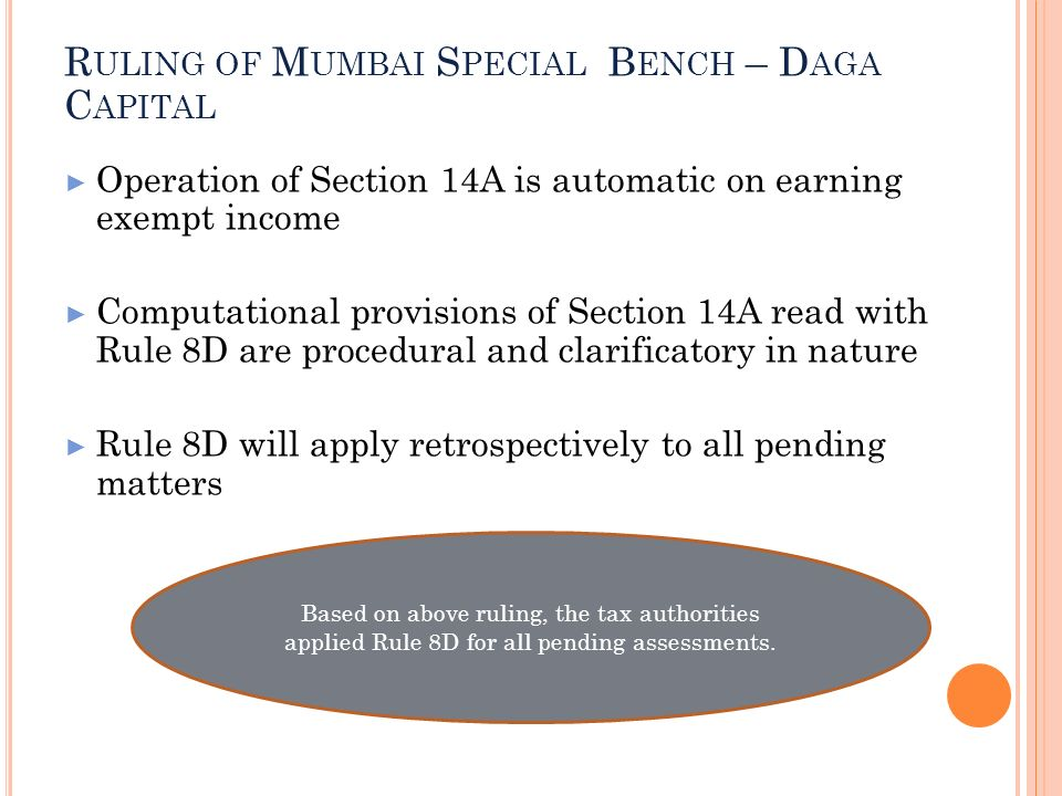 Ruling of Mumbai Special Bench – Daga Capital