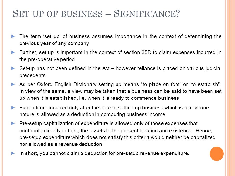 Set up of business – Significance