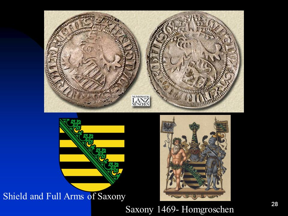Shield and Full Arms of Saxony