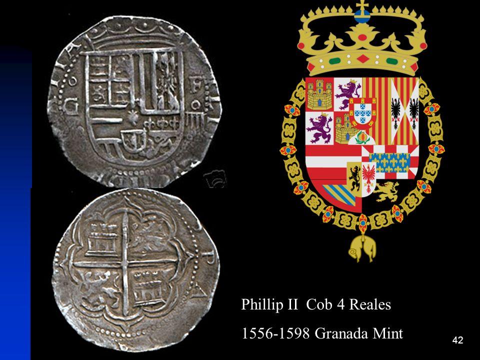 Phillip II Cob 4 Reales 1556-1598 Granada Mint