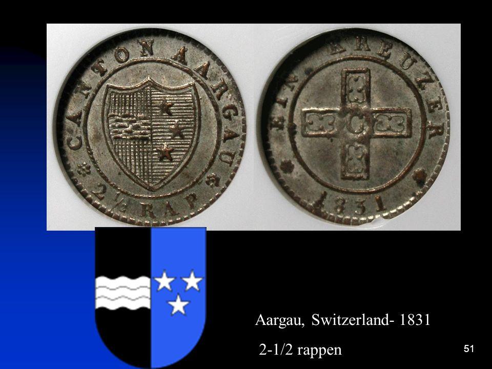 Aargau, Switzerland- 1831 2-1/2 rappen