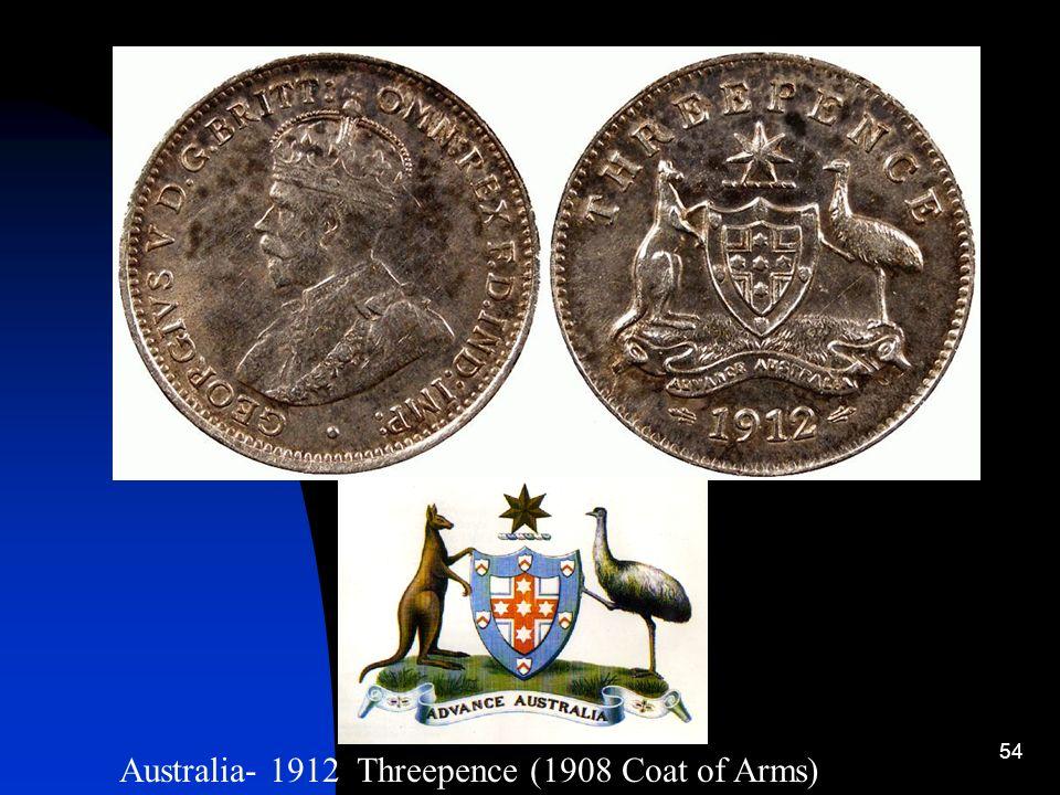 Australia- 1912 Threepence (1908 Coat of Arms)