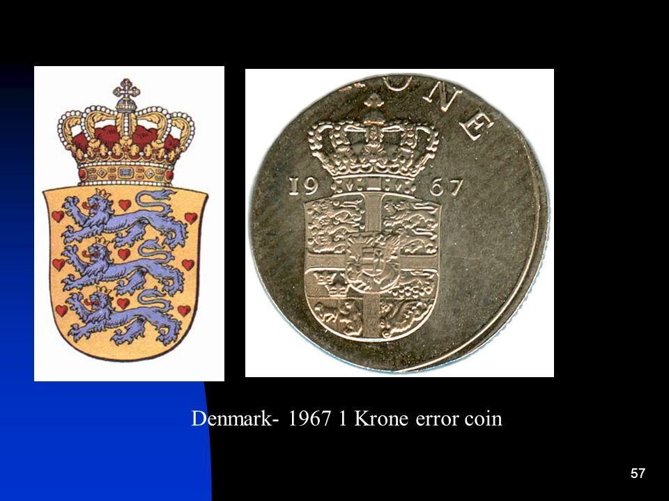 Denmark- 1967 1 Krone error coin