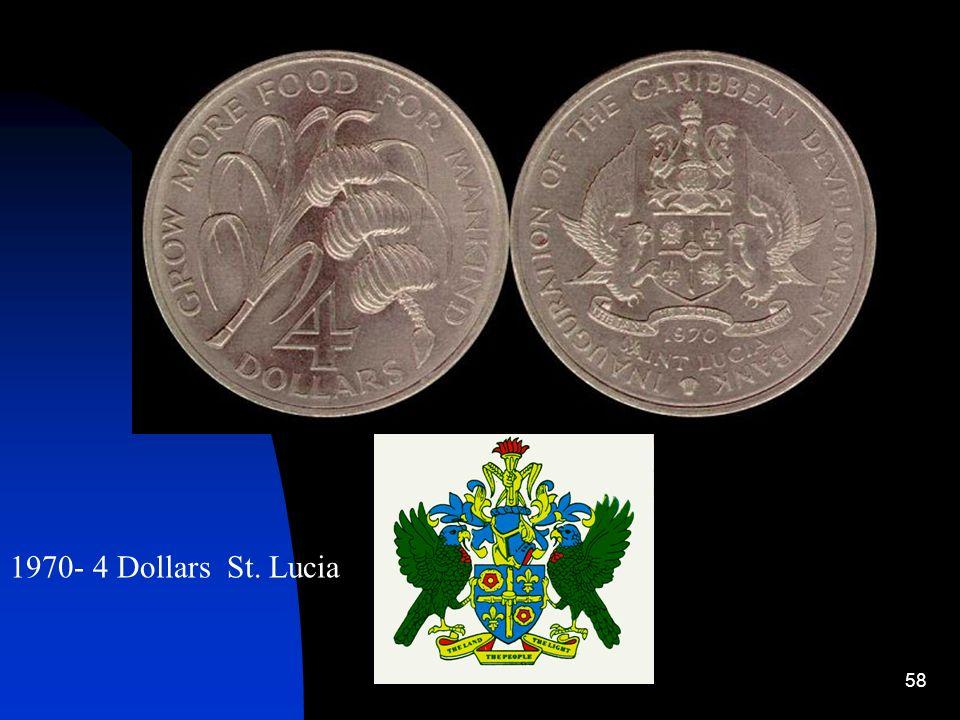 1970- 4 Dollars St. Lucia