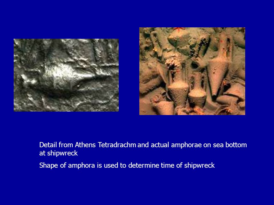 Detail from Athens Tetradrachm and actual amphorae on sea bottom at shipwreck