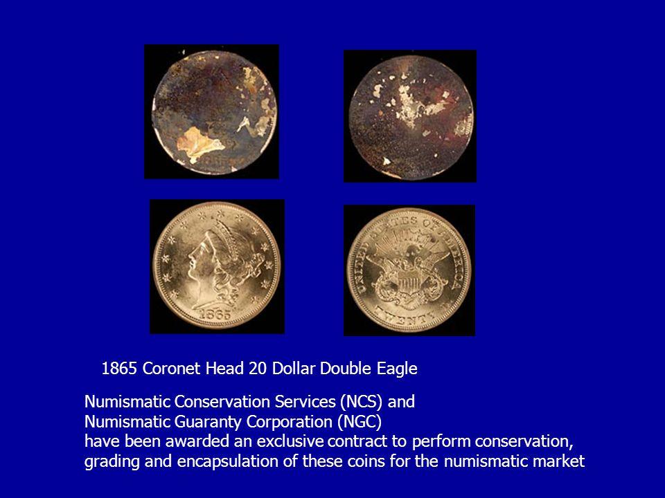 1865 Coronet Head 20 Dollar Double Eagle