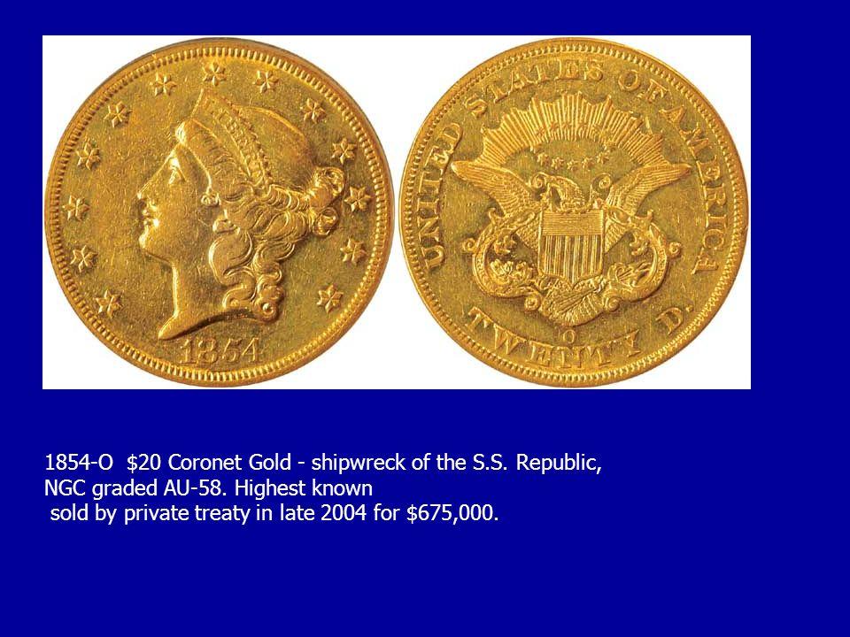 1854-O $20 Coronet Gold - shipwreck of the S.S. Republic,