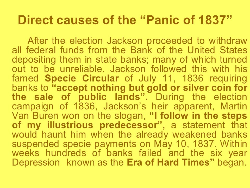 Direct causes of the Panic of 1837