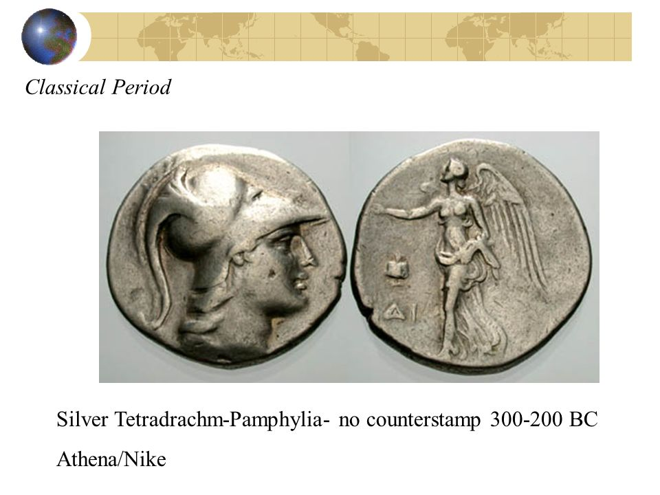 Classical Period Silver Tetradrachm-Pamphylia- no counterstamp BC Athena/Nike
