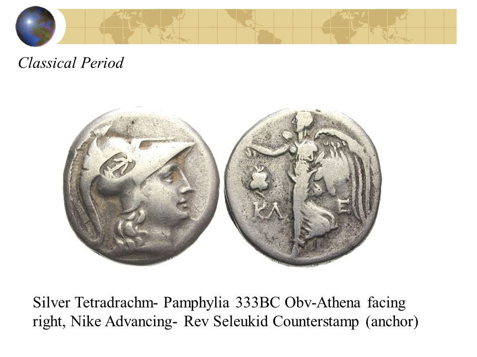 Classical Period Silver Tetradrachm- Pamphylia 333BC Obv-Athena facing right, Nike Advancing- Rev Seleukid Counterstamp (anchor)