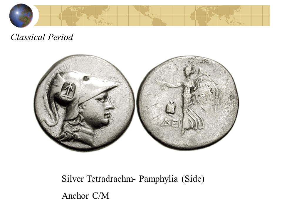 Classical Period Silver Tetradrachm- Pamphylia (Side) Anchor C/M