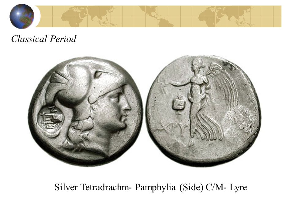 Classical Period Silver Tetradrachm- Pamphylia (Side) C/M- Lyre