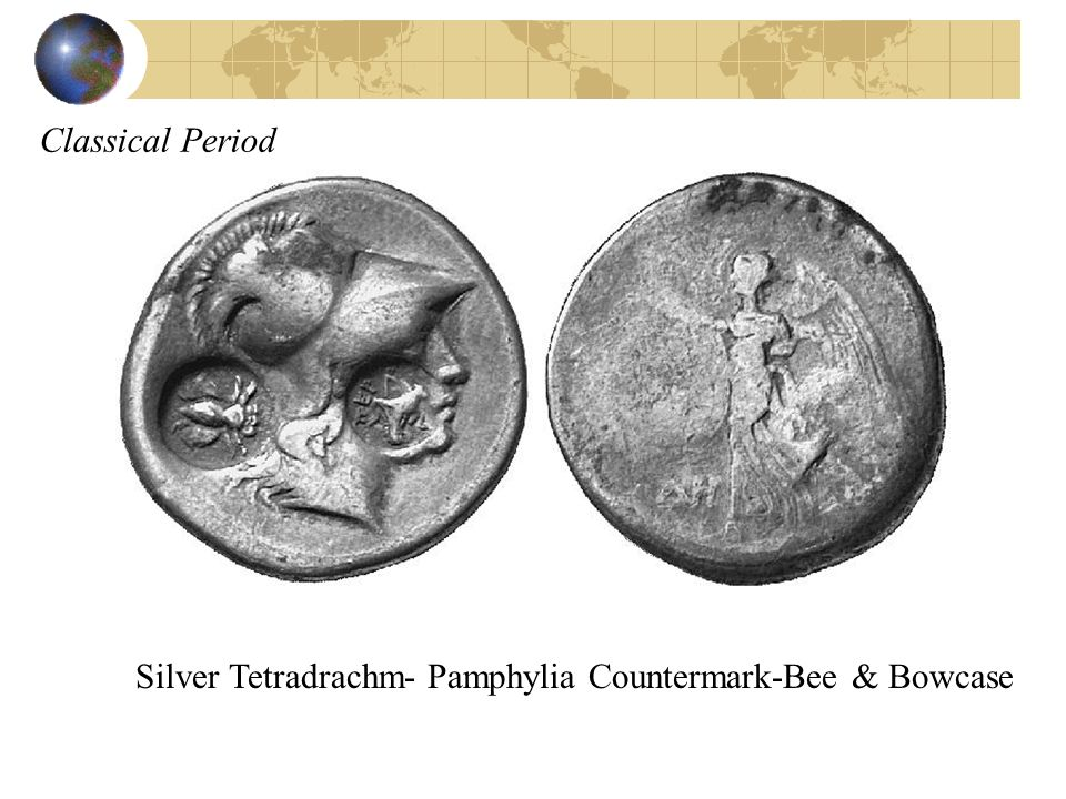Classical Period Silver Tetradrachm- Pamphylia Countermark-Bee & Bowcase