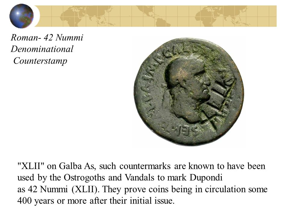 Roman- 42 Nummi Denominational Counterstamp