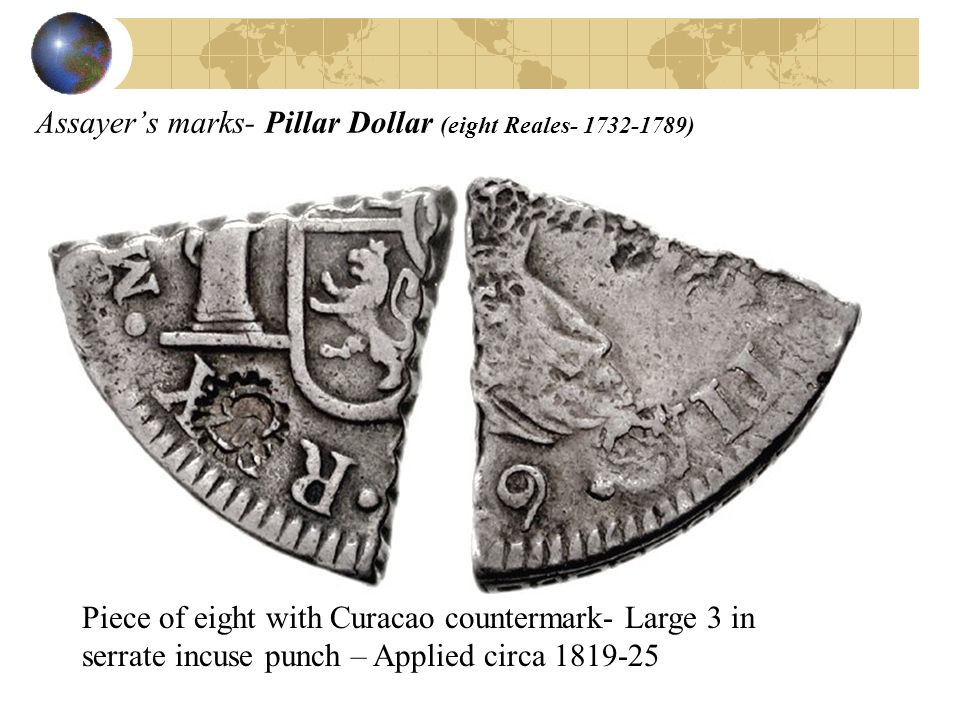 Assayer's marks- Pillar Dollar (eight Reales- 1732-1789)