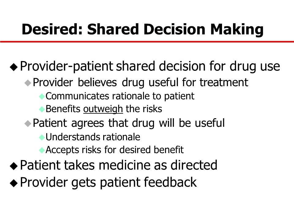 Desired: Shared Decision Making