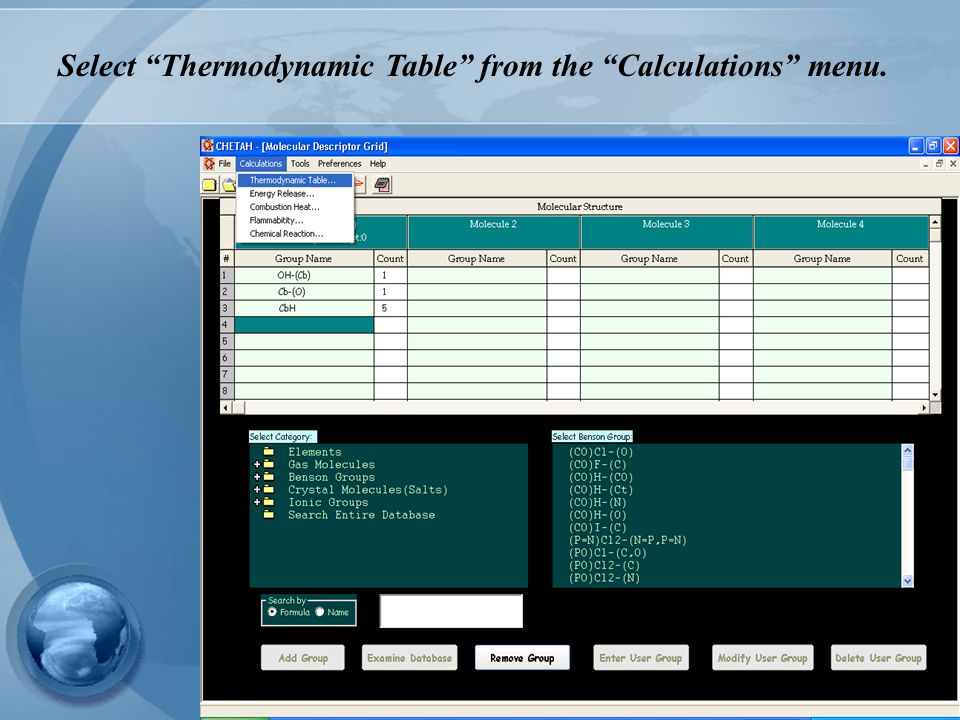 Select Thermodynamic Table from the Calculations menu.