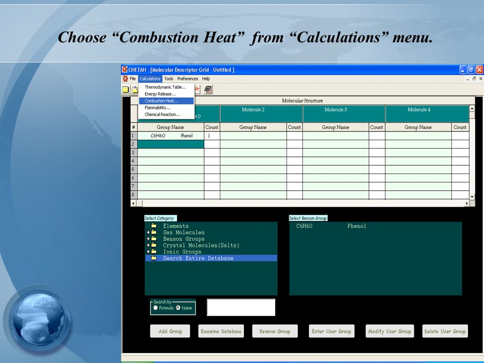 Choose Combustion Heat from Calculations menu.