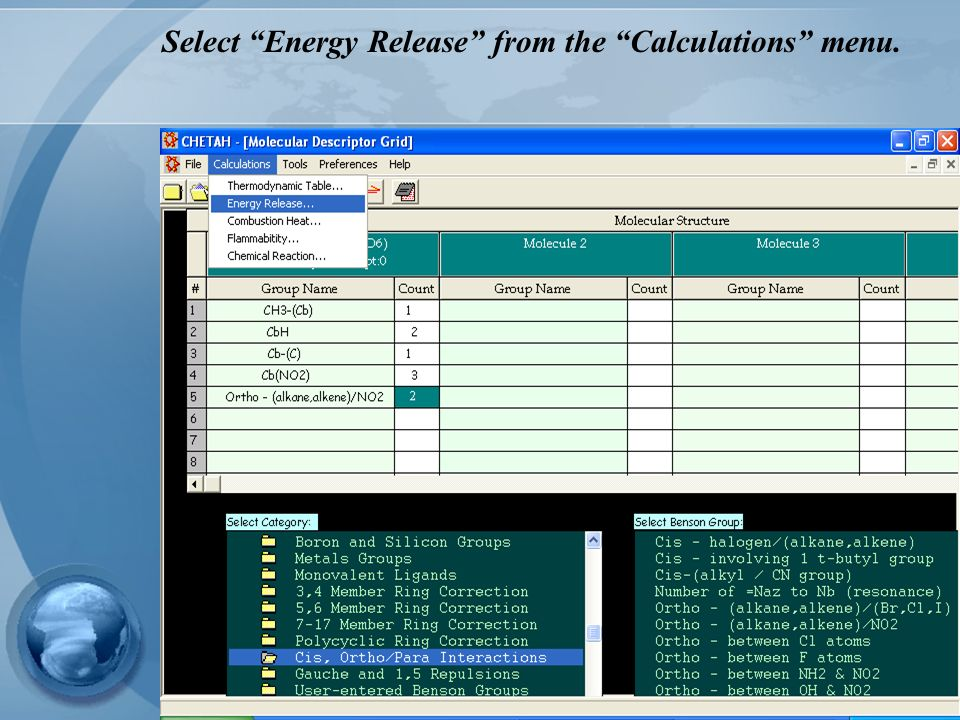 Select Energy Release from the Calculations menu.