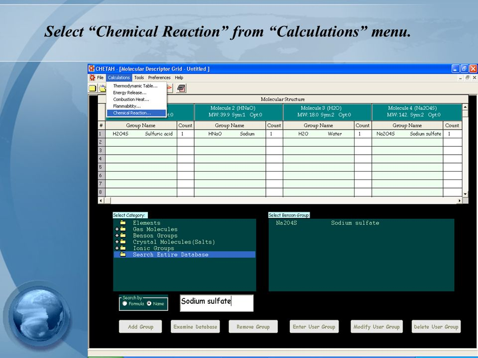 Select Chemical Reaction from Calculations menu.