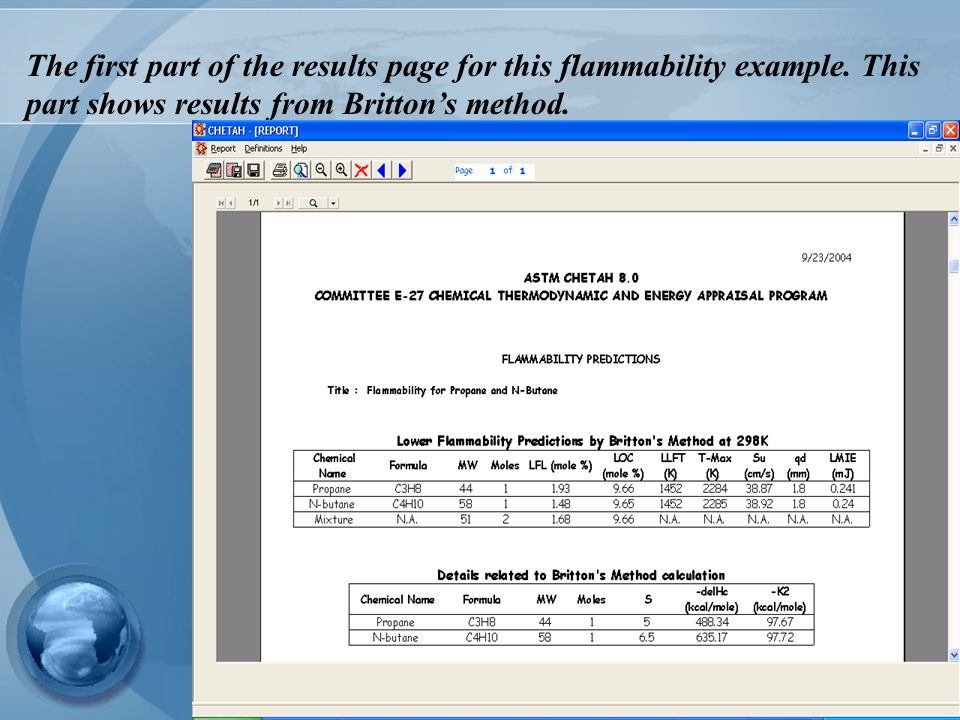 The first part of the results page for this flammability example