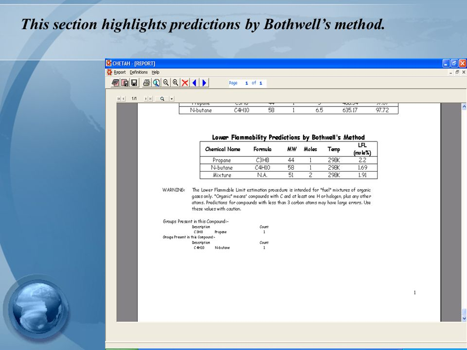 This section highlights predictions by Bothwell's method.