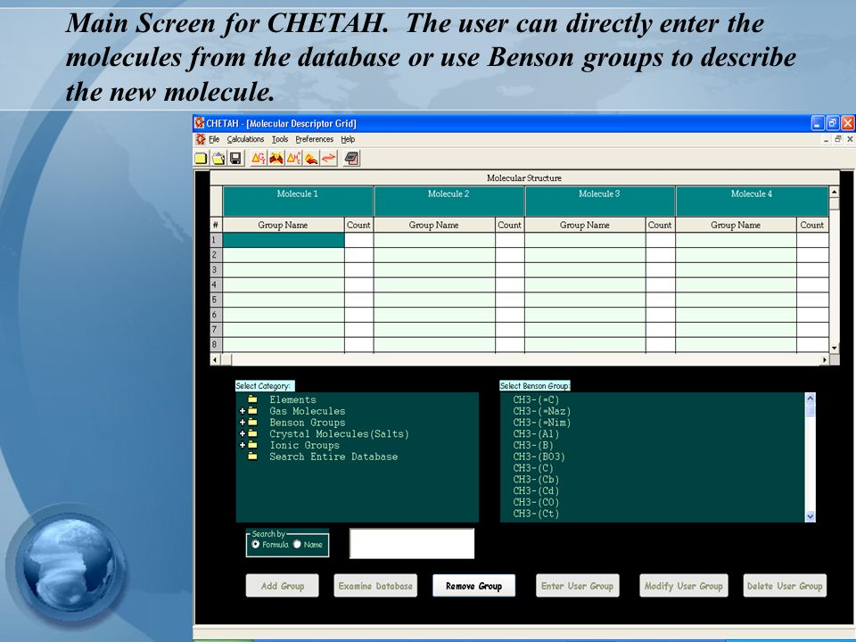 Main Screen for CHETAH.