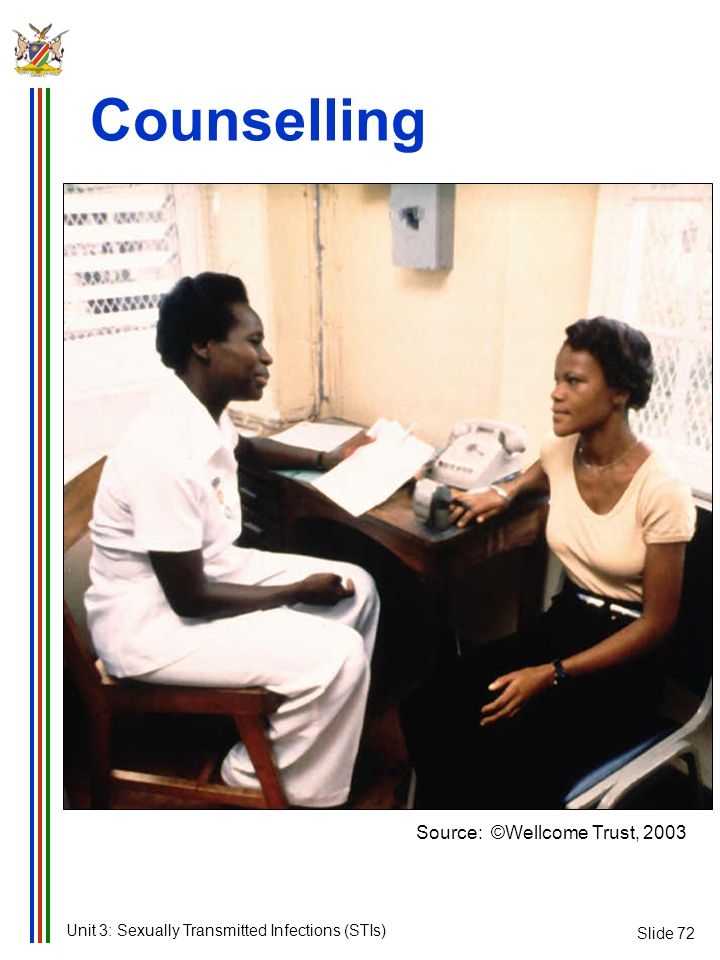 Counselling Source: ©Wellcome Trust, 2003 Slide 72