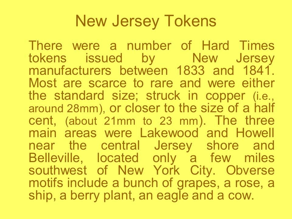 New Jersey Tokens