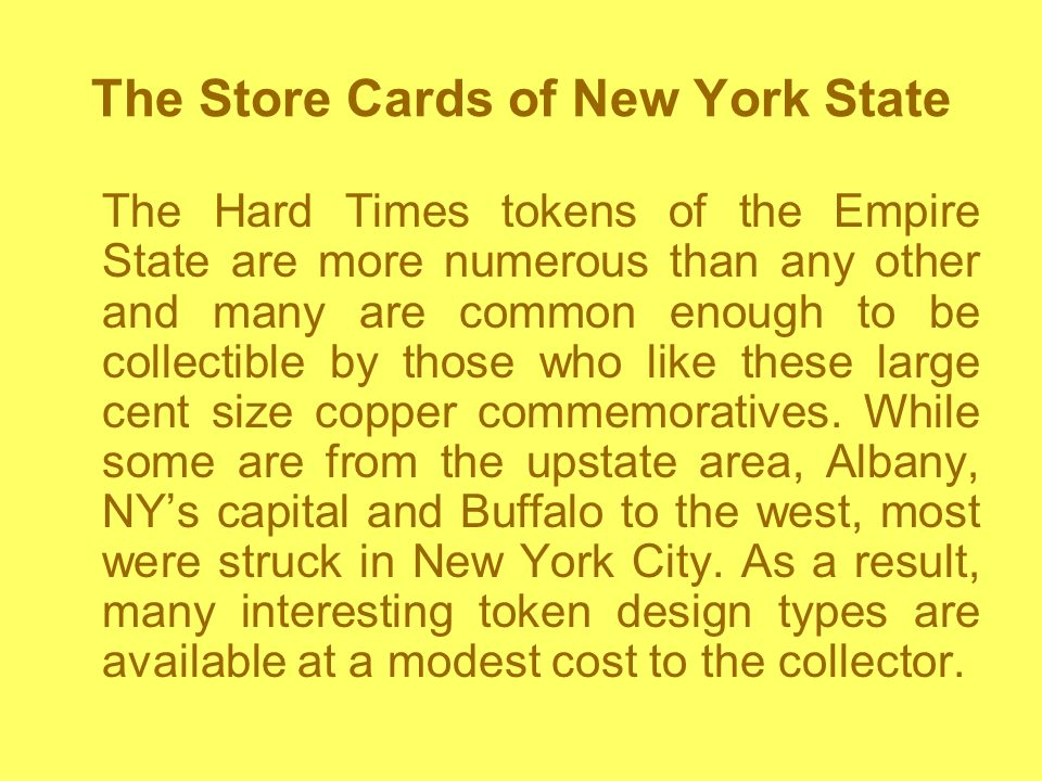 The Store Cards of New York State