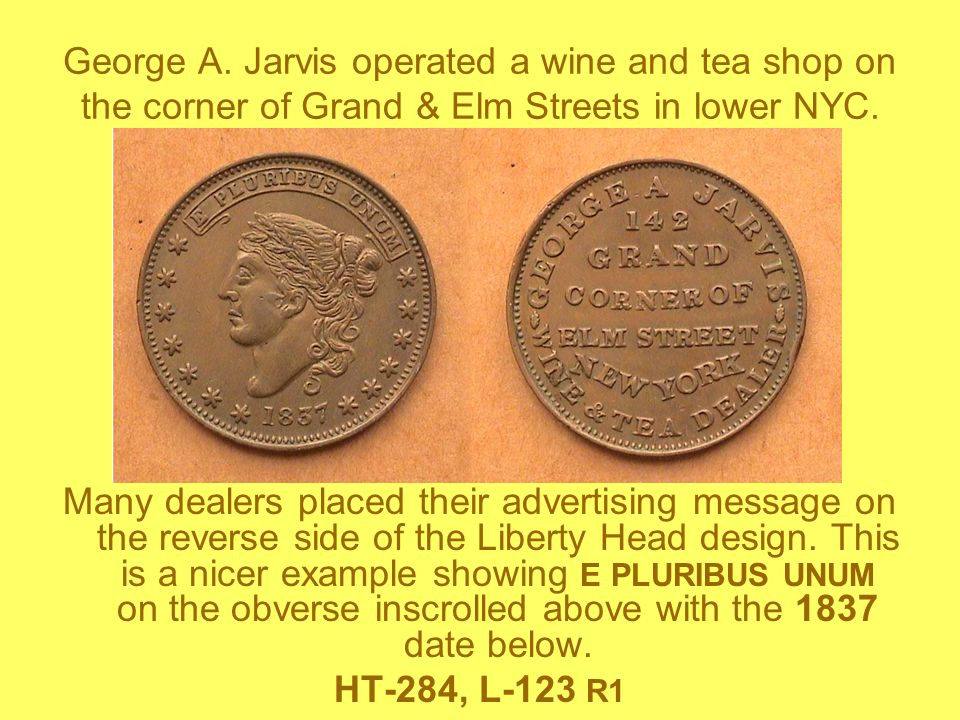 George A. Jarvis operated a wine and tea shop on the corner of Grand & Elm Streets in lower NYC.