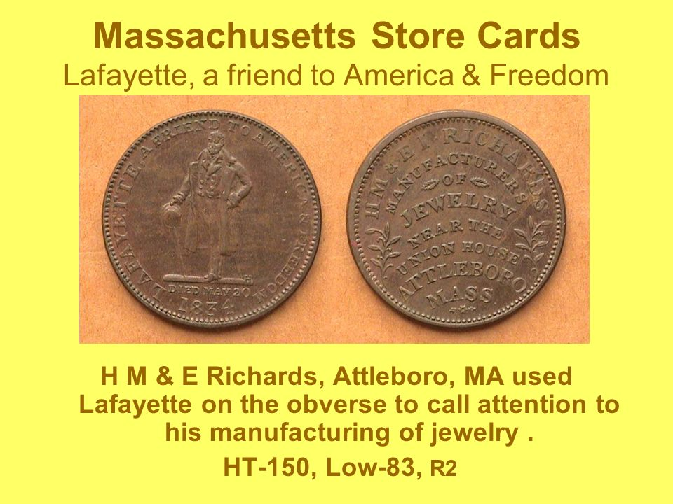 Massachusetts Store Cards Lafayette, a friend to America & Freedom