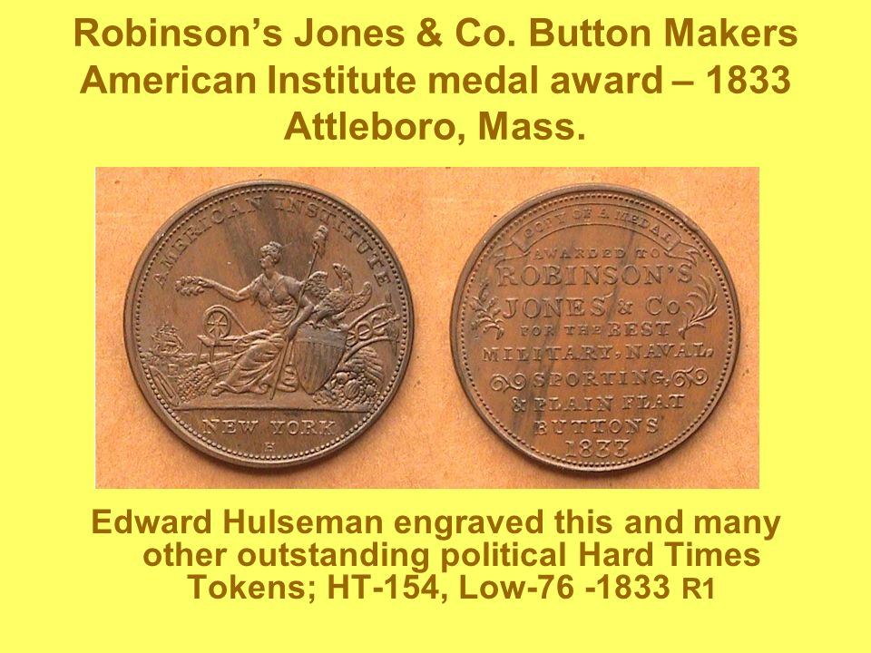 Robinson's Jones & Co. Button Makers American Institute medal award – 1833 Attleboro, Mass.